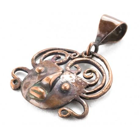Rebajes Small Brazilian Mask Copper Pendant