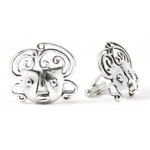 Rebajes Brazilian Mask Silver Cufflinks