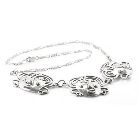 Rebajes Brazilian Mask Silver Necklace