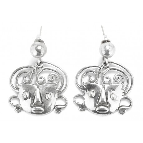 Rebajes Brazilian Mask Silver Earrings