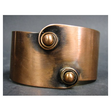 Rebajes Wide Twin Curl Copper Cuff