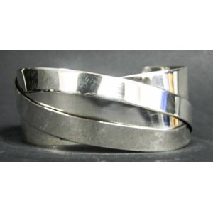 Rebajes Two Bands Over Silver Cuff