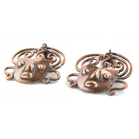 Rebajes Brazilian Mask Copper Earrings