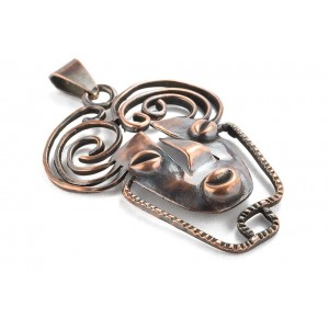 Rebajes Long Brazilian Mask Copper Pendant