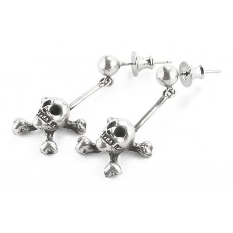 ORB Queen of Scots Skull Silver Earrings