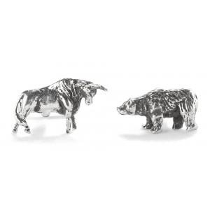ORB Bull and Bear Silver Cufflinks