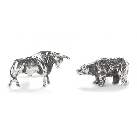 ORB Bull and Bear Silver Cufflinks